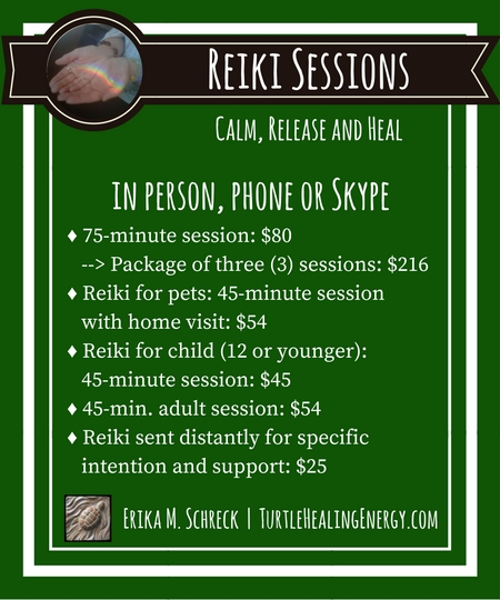 Reiki Sessions with Erika M. Schreck and Turtle Healing Energy
